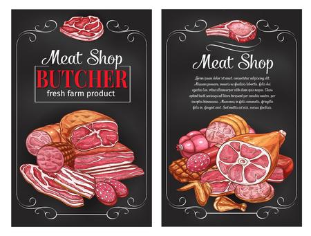 Een Vectorschetsworsten en vlees voor slagerij
