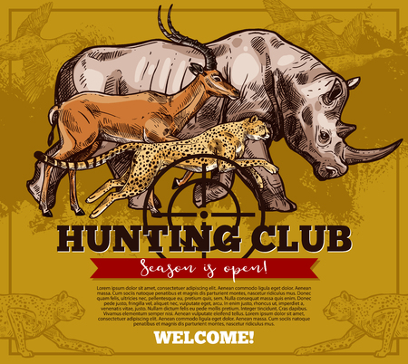 Vector hunting club open season sketch poster Çizim