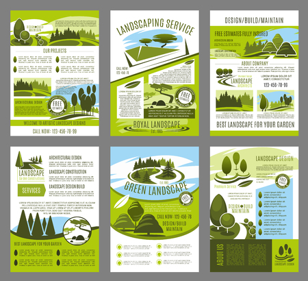 Vector landscape garden design brochure template set