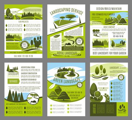 Vector landscape garden design brochure template set