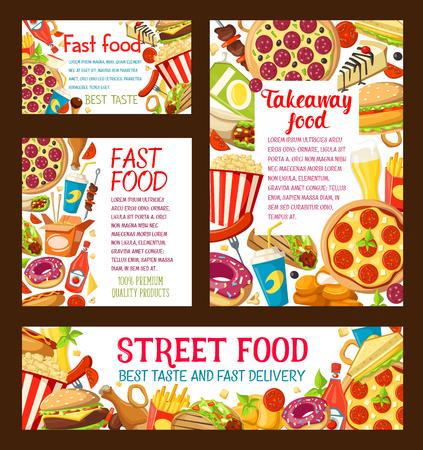 Vector street food takeaway posters set