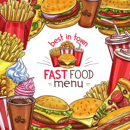 A Vector fast food sketch menu poster design