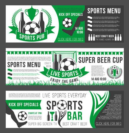 Vector soccer sports bar football pub menu banners set