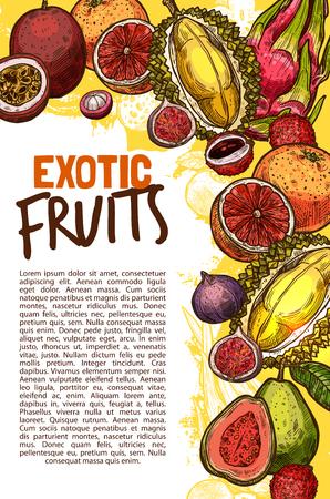 エキゾチックな果物のベクターフルーツショップスケッチポスター
