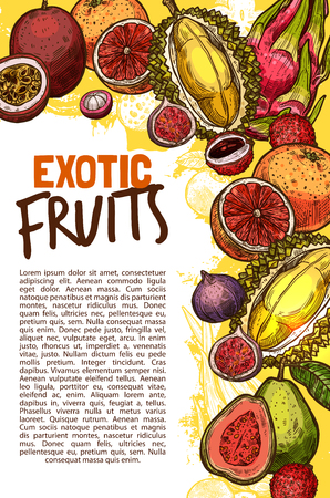 Vector fruit shop sketch poster of exotic fruits Illustration