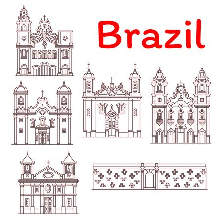 ブラジルのランドマークベクターアーキテクチャラインアイコン