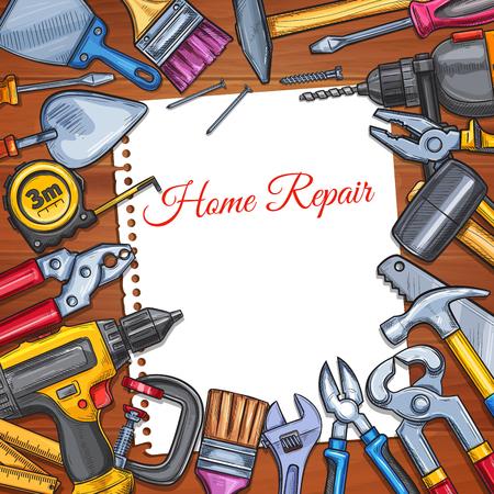Vector work tools home repair sketch poster Illustration