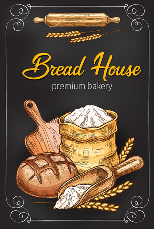 A Vector sketch poster for bakery bread house