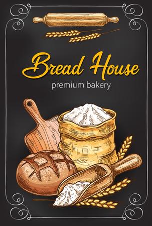 Plakat szkic wektor dla piekarni chleba Ilustracje wektorowe
