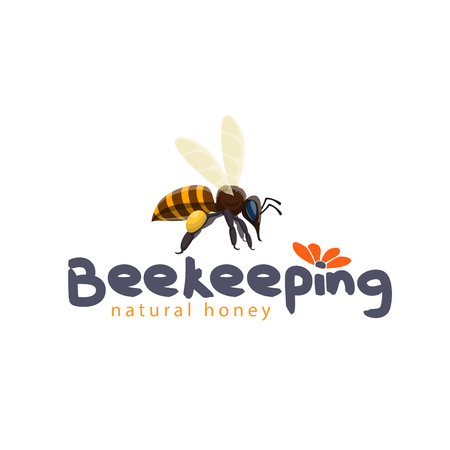 Honey bee vector icon for beekeeping product