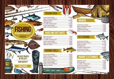 Vector fisherman sport fishing equipment price template