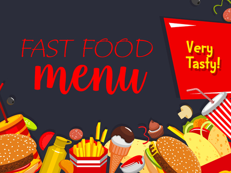A Vector fast food meals and snaks menu poster Illustration