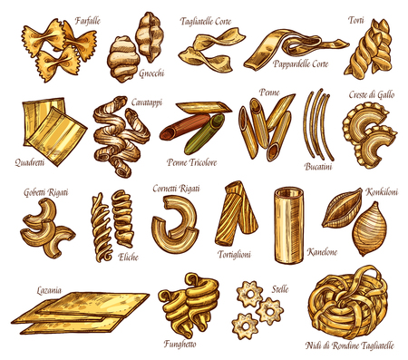 Vector Italian pasta sketch icons set Stock Illustratie