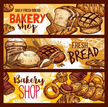 Vector bread sketch for bakery shop Illustration