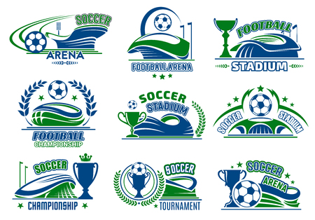 Lokalisierte Ikonen des Vektors Fußball für Fußballsport