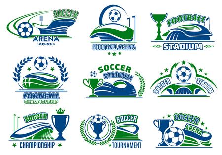 Vector voetbal geïsoleerde pictogrammen voor voetbalsport