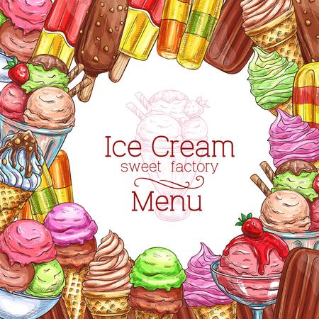 Vector ice cream desserts sketch menu poster Çizim