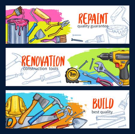 Vector work tools home repair sketch banners Illustration
