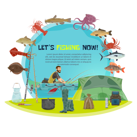 Vector fishing poster design