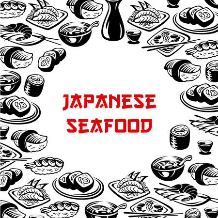 Vector Japanese seafood, sushi restaurant poster