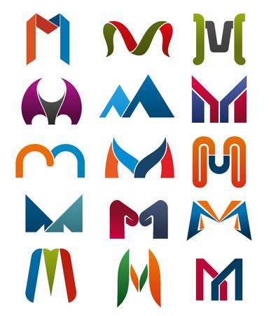 M 文字ベクトル アイコン テンプレート