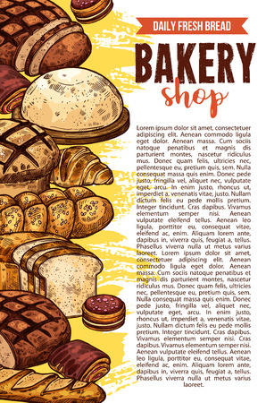 Vector sketch bakery shop bread poster