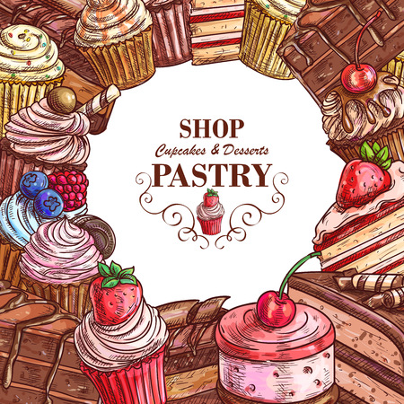 Vector pastry shop sketch poster