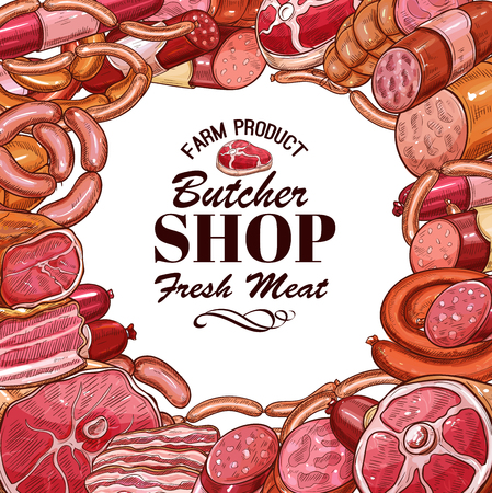 Vector sketch of meat products for butcher shop