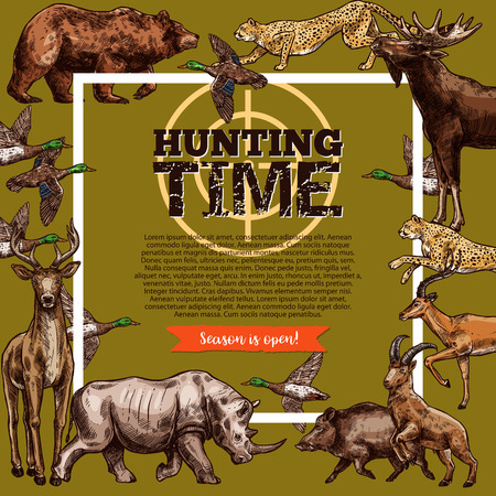 Vector hunt club, hunting season sketch poster