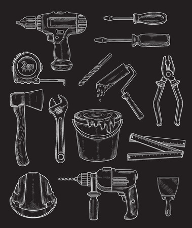 Vector work tools, home repair sketch icons set Illustration