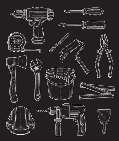 Vector work tools, home repair sketch icons set Illusztráció