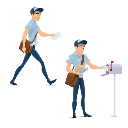 Post mail postman at delivery work vector icons
