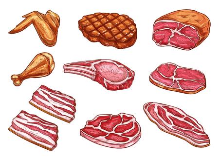 Icônes de produits de boucherie viande croquis vectoriels Vecteurs