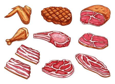 Vector sketch meat butcher products icons Çizim
