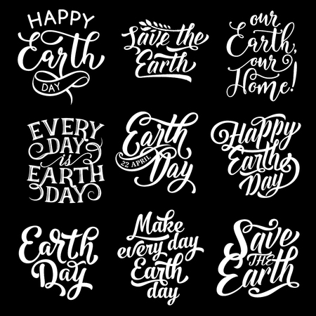 Happy Earth Day Save Planet vector text greetings