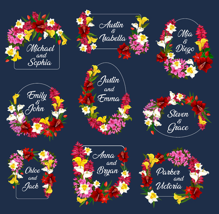 Flowers wedding save date frames vector icons