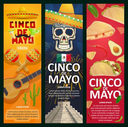 Cinco de Mayo Mexican假日横幅为嘉年华庆祝活动。传染媒介墨西哥旗子,墨西哥胡椒或鲕梨,吉他和maracas或阔边帽在骷髅图·金字塔在Cinco de Mayo派对的阿兹特克金字塔