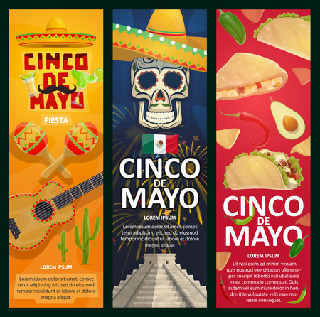 Cinco de Mayo Mexican holiday banners for fiesta celebration. Vector Mexico flag, jalapeno pepper or avocado, guitar and maracas or sombrero on skull and tacos in Aztec pyramid for Cinco De Mayo party Illustration