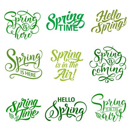 Vector springtime season quotes icons vector set Stock Illustratie