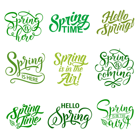 Vector springtime season quotes icons vector set Illustration