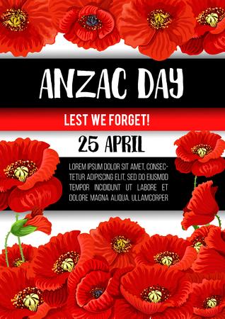 Anzac Day poppy flower memorial banner design