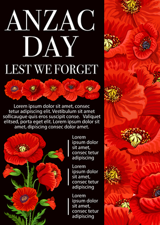 Anzac Day Lest We Forget banner for 25 April Remembrance Day of World War soldier and veterans. Red poppy flower and floral bouquet memorial poster design for Australian and New Zealand Army Corps