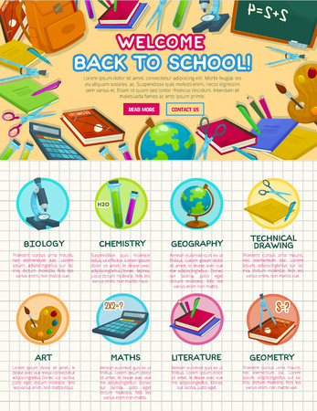 Back to School vector autumn education poster