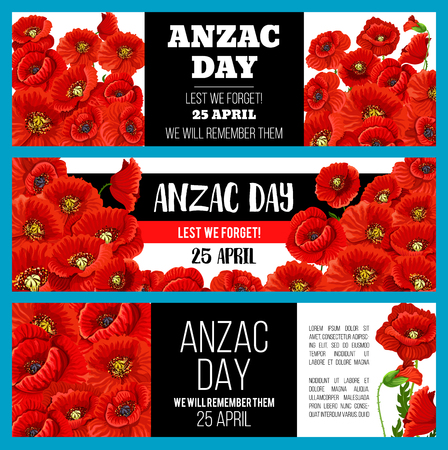 Anzac Day Lest We Forget banner with poppy flower Illustration