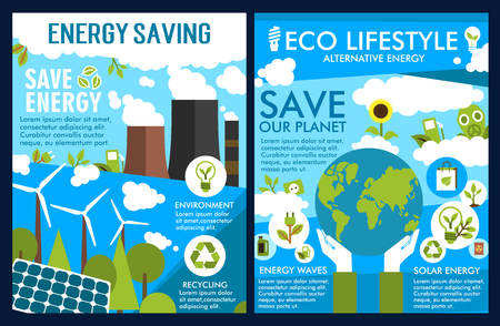 Vector posters for green energy or ecology saving