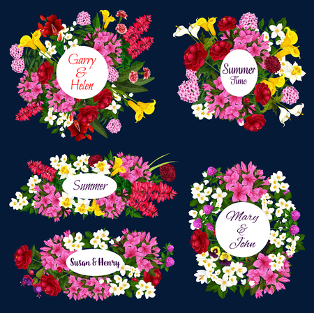 Save the Date floral icons for wedding invitation