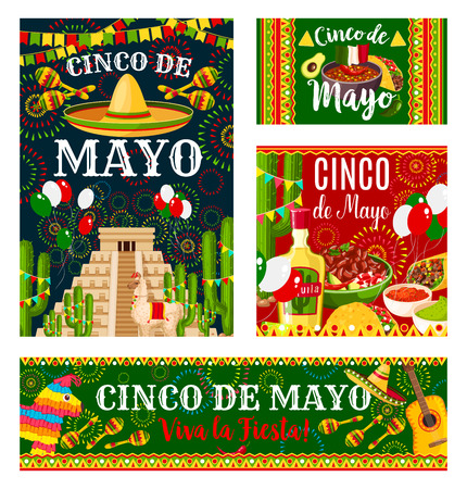 Cinco de Mayo mexican holiday invitation banner