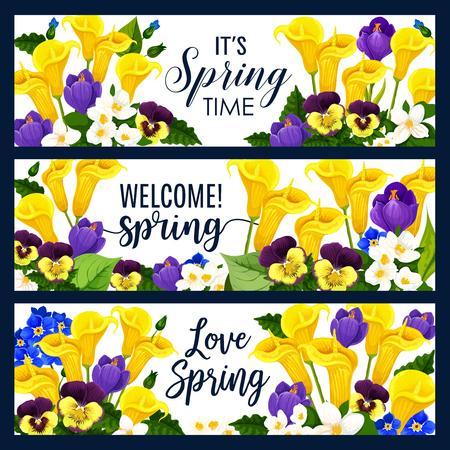 Vector lente bloemen groet banners