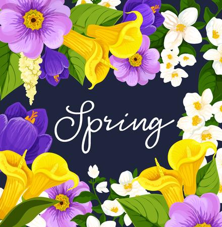 Vector lente bloeiende bloemen poster Stock Illustratie