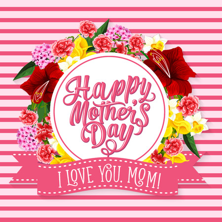 Mother Day greeting card with spring flower frame